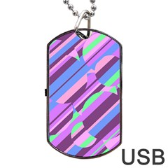 Pink, Purple And Green Pattern Dog Tag Usb Flash (two Sides)  by Valentinaart