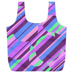 Pink, Purple And Green Pattern Full Print Recycle Bags (l)  by Valentinaart