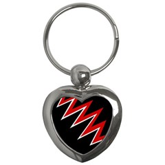 Black And Red Simple Design Key Chains (heart)  by Valentinaart