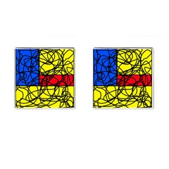 Yellow Abstract Pattern Cufflinks (square) by Valentinaart