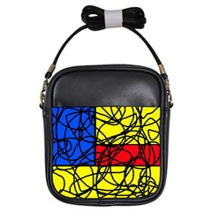 Yellow Abstract Pattern Girls Sling Bags by Valentinaart
