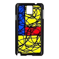 Yellow Abstract Pattern Samsung Galaxy Note 3 N9005 Case (black) by Valentinaart