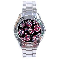Colorful Decorative Pattern Stainless Steel Analogue Watch by Valentinaart