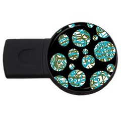 Decorative Blue Abstract Design Usb Flash Drive Round (2 Gb)  by Valentinaart