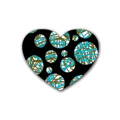 Decorative Blue Abstract Design Heart Coaster (4 Pack)  by Valentinaart