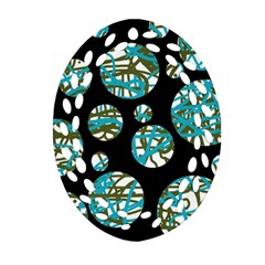Decorative Blue Abstract Design Oval Filigree Ornament (2 Side)  by Valentinaart