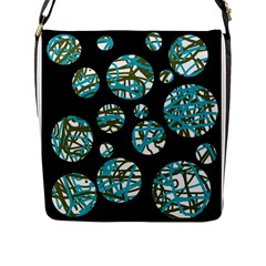 Decorative Blue Abstract Design Flap Messenger Bag (l)  by Valentinaart