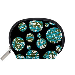 Decorative Blue Abstract Design Accessory Pouches (small)  by Valentinaart
