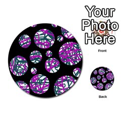 Purple Decorative Design Multi Purpose Cards (round)