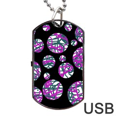 Purple Decorative Design Dog Tag Usb Flash (one Side) by Valentinaart