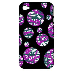 Purple Decorative Design Apple Iphone 4/4s Hardshell Case (pc+silicone) by Valentinaart