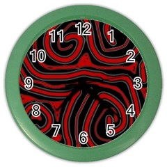 Red And Black Abstraction Color Wall Clocks by Valentinaart