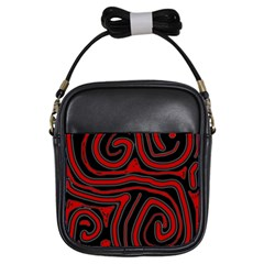 Red And Black Abstraction Girls Sling Bags by Valentinaart