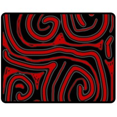 Red And Black Abstraction Double Sided Fleece Blanket (medium)  by Valentinaart