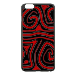 Red And Black Abstraction Apple Iphone 6 Plus/6s Plus Black Enamel Case by Valentinaart