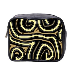 Brown Elegant Abstraction Mini Toiletries Bag 2 Side by Valentinaart