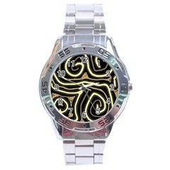 Brown Elegant Abstraction Stainless Steel Analogue Watch by Valentinaart