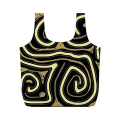 Brown elegant abstraction Full Print Recycle Bags (M)  by Valentinaart