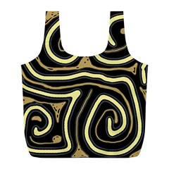 Brown elegant abstraction Full Print Recycle Bags (L)  by Valentinaart