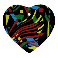 Colorful Decorative Abstrat Design Ornament (heart)  by Valentinaart