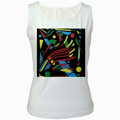 Colorful Decorative Abstrat Design Women s White Tank Top