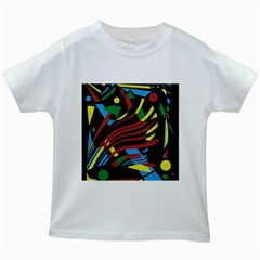 Colorful Decorative Abstrat Design Kids White T Shirts by Valentinaart