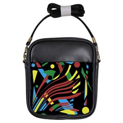 Colorful Decorative Abstrat Design Girls Sling Bags by Valentinaart