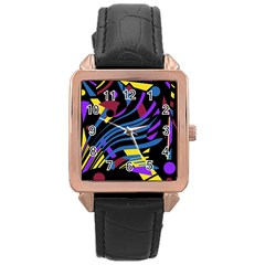Decorative Abstract Design Rose Gold Leather Watch  by Valentinaart
