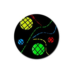 Colorful Design Rubber Round Coaster (4 Pack)  by Valentinaart