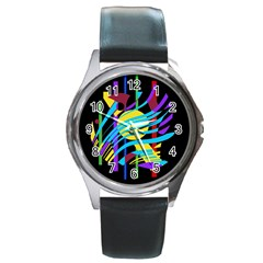 Colorful abstract art Round Metal Watch by Valentinaart
