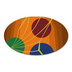Orange Abstraction Oval Magnet by Valentinaart