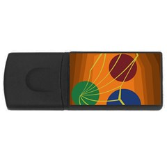 Orange Abstraction Usb Flash Drive Rectangular (4 Gb)  by Valentinaart
