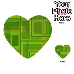Green Pattern Multi Purpose Cards (heart)  by Valentinaart