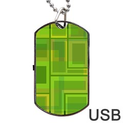 Green Pattern Dog Tag Usb Flash (one Side) by Valentinaart