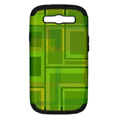 Green Pattern Samsung Galaxy S Iii Hardshell Case (pc+silicone) by Valentinaart