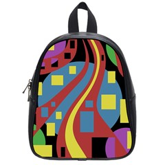 Colorful Abstrac Art School Bags (small)  by Valentinaart