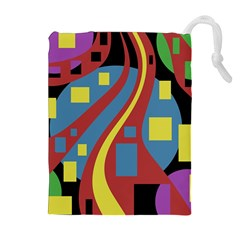 Colorful Abstrac Art Drawstring Pouches (extra Large) by Valentinaart