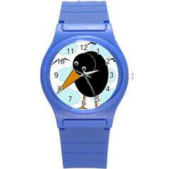 Black Raven Round Plastic Sport Watch (s) by Valentinaart