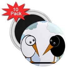 Black And White Birds 2 25  Magnets (10 Pack)  by Valentinaart