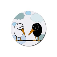 Black And White Birds Rubber Coaster (round)  by Valentinaart