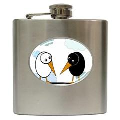 Black and white birds Hip Flask (6 oz) by Valentinaart
