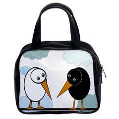 Black And White Birds Classic Handbags (2 Sides) by Valentinaart
