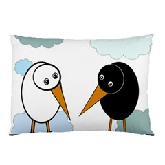 Black And White Birds Pillow Case by Valentinaart