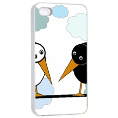 Black And White Birds Apple Iphone 4/4s Seamless Case (white) by Valentinaart