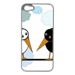 Black And White Birds Apple Iphone 5 Case (silver) by Valentinaart