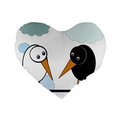 Black And White Birds Standard 16  Premium Flano Heart Shape Cushions by Valentinaart