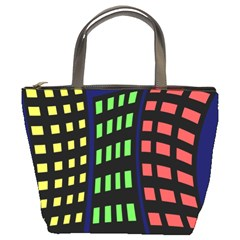Colorful abstract city landscape Bucket Bags