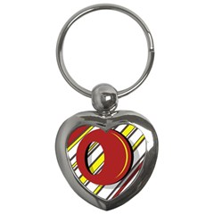 Red And Yellow Design Key Chains (heart)  by Valentinaart