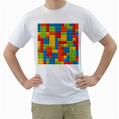 Lego Bricks Pattern Men s T-Shirt (White) (Two Sided) by Etnousta