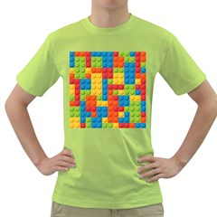 Lego Bricks Pattern Green T-Shirt by Etnousta